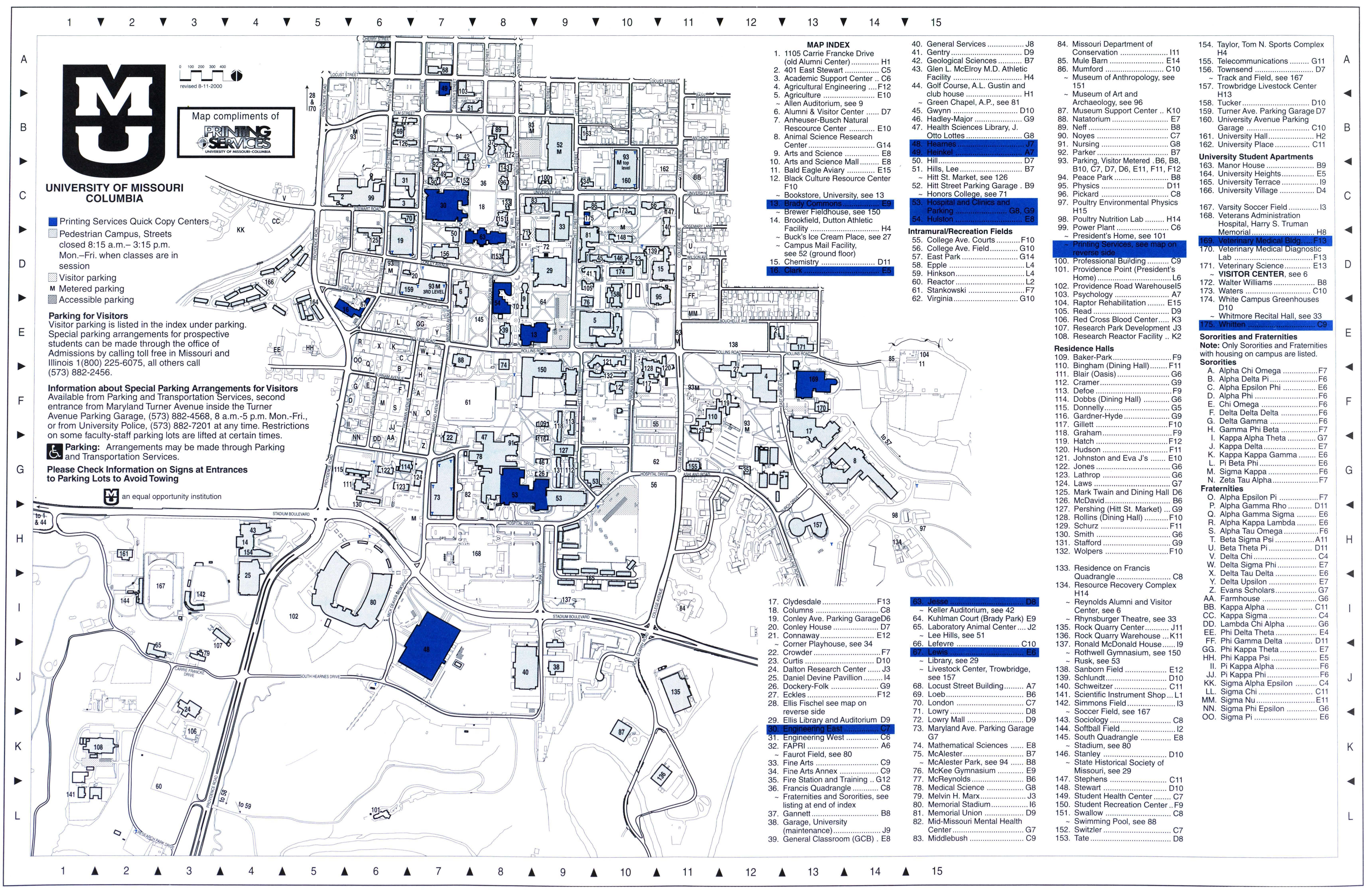 University Of Missouri Columbia Campus Map