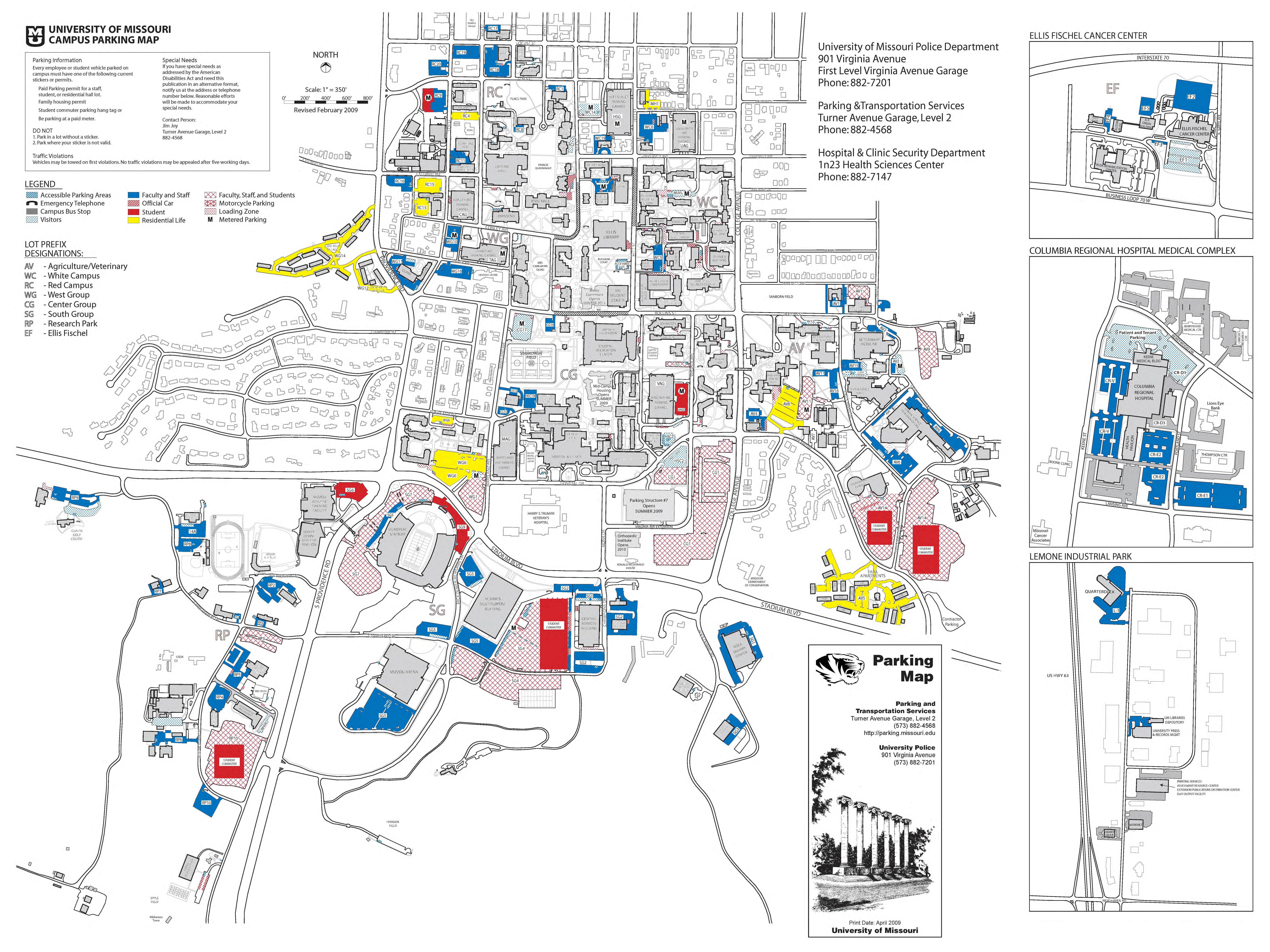 University Of Missouri Campus Parking Map